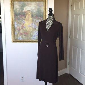 Vertigo Paris Women's Brown Wrap Midi Dress (L)